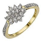 18ct yellow gold, 1/2 carat diamond cluster ring - Product number 9683402