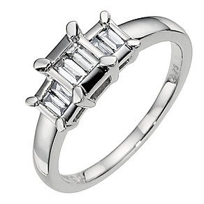 18ct white gold 0.25ct diamond trilogy ring - Product number 9683674