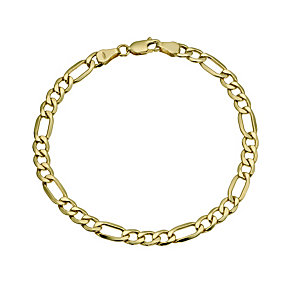 Together Bonded Silver & 9ct Gold Solid Figaro Bracelet - Product number 9684204