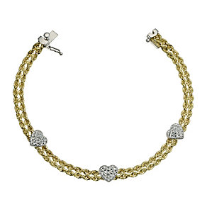 "Together Bonded Silver & 9ct Gold Heart Rope Bracelet 7.25"" - Product number 9684379"