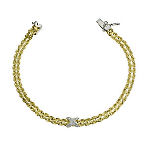 Together Bonded Silver & 9ct Gold Kiss Rope Bracelet 7.25