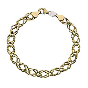 Together Bonded Silver & 9ct Yellow Gold Link Bracelet - Product number 9687009