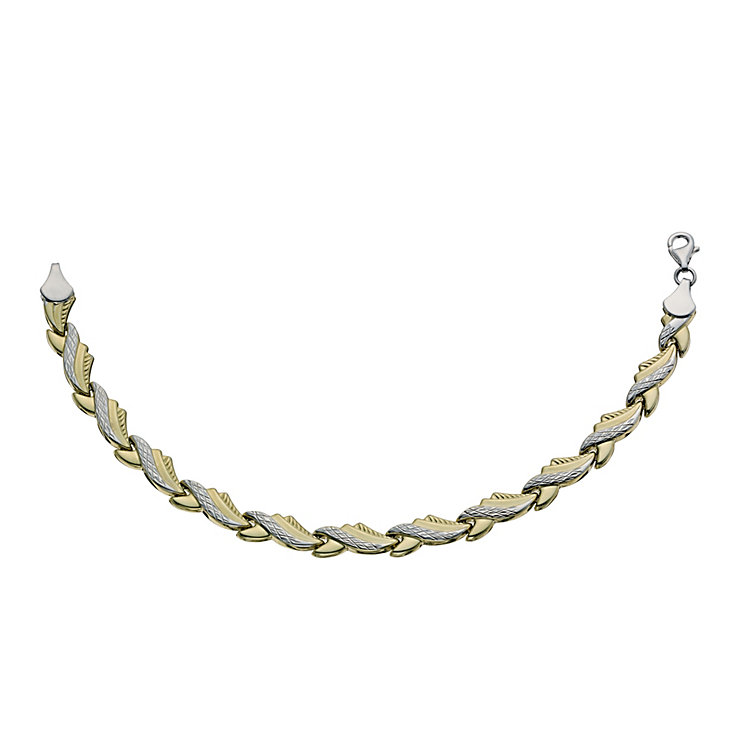 "Together Bonded Silver & 9ct Gold Wave 7.25"" Bracelet - Product number 9687017"
