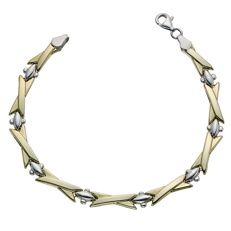 Together Bonded Silver & 9ct Gold Polished Bracelet - Product number 9687041