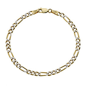 Together Bonded Silver & 9ct Gold Diamond Cut Bracelet - Product number 9687157