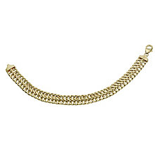 "Together Bonded Silver & 9ct Gold 7.5"" Double Curb Bracelet - Product number 9687181"