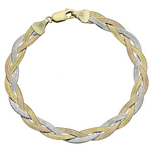 Together Bonded Silver & 9ct Gold Plaited Bracelet - Product number 9687238