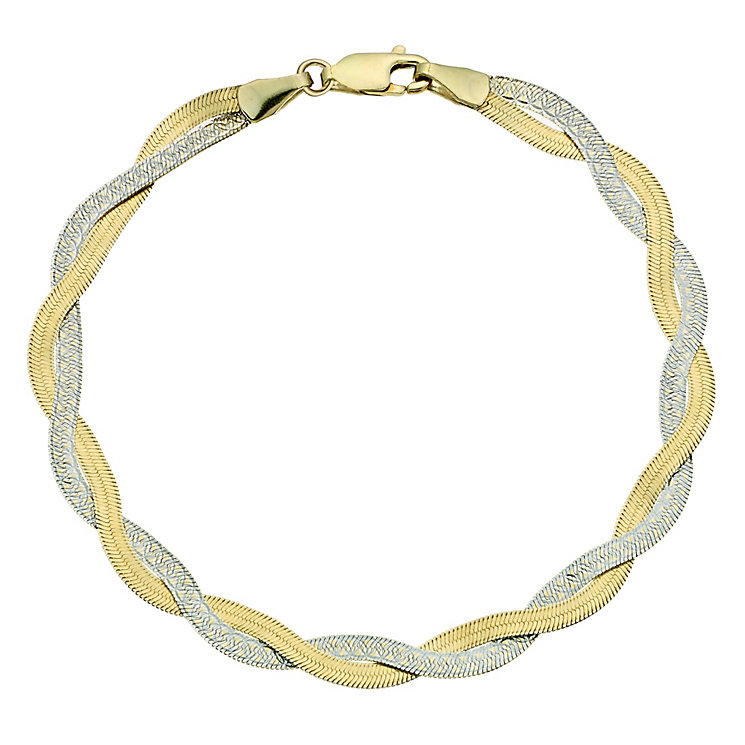 Together Bonded Silver & 9ct Yellow Gold Bracelet - Product number 9687262