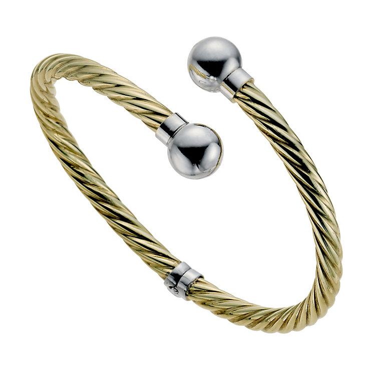 Together Bonded Silver & 9ct Yellow Gold Torque Bangle - Product number 9687289