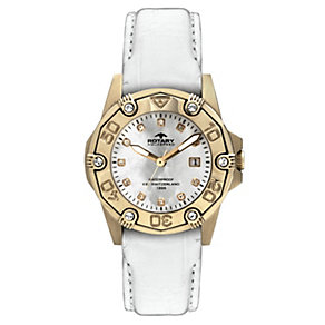 Rotary Aquaspeed Ladies' Rose Gold Plated White Strap Watch - Product number 9687483
