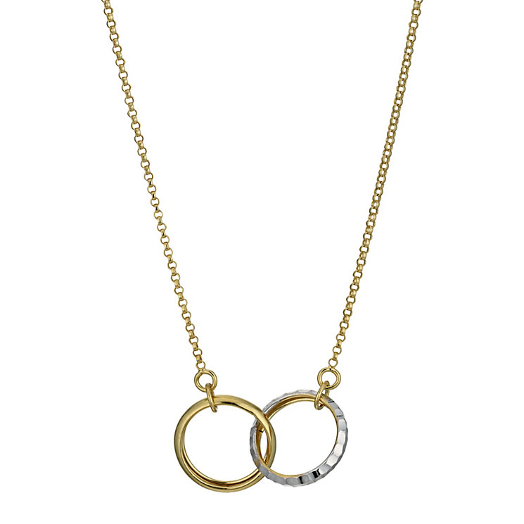 "Together Bonded Silver & 9ct Gold Double Necklace 17.75"" - Product number 9687610"