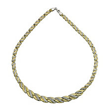"Together Bonded Silver & 9ct Gold Wave Necklace 17"" - Product number 9687688"