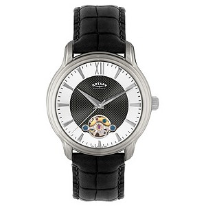 Rotary Men's Silver Dial Automatic Leather Strap Watch
