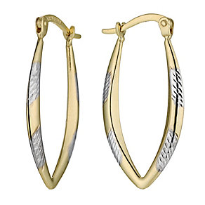 Together Bonded Silver & 9ct Gold Drop Creole Earrings - Product number 9688854