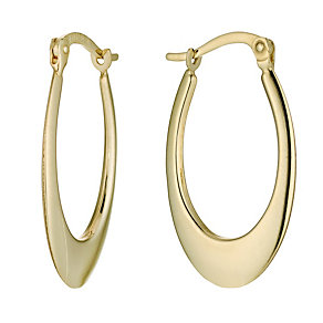 Together Bonded Silver & 9ct Gold Oval Creole Earrings - Product number 9688862