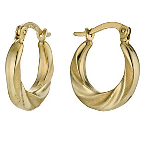 Together Bonded Silver & 9ct Gold Swirl Creole Earrings - Product number 9688889