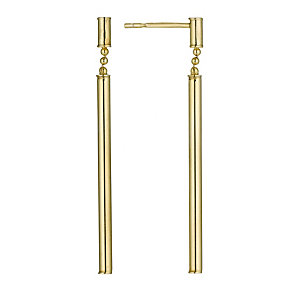 Bonded Together Silver & 9ct Yellow Gold Stick Drop Earrings - Product number 9688897