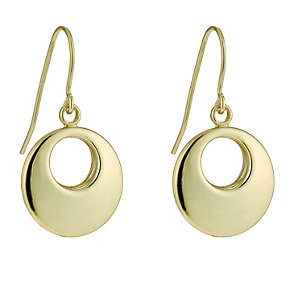 Bonded Together Silver & 9ct Yellow Gold Ring Drop Earrings - Product number 9688919