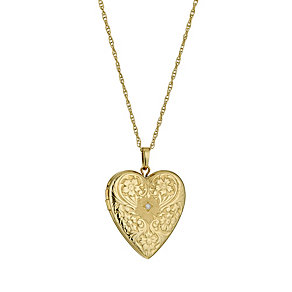 Bonded Silver and 9ct Gold Diamond Set Heart Locket 18