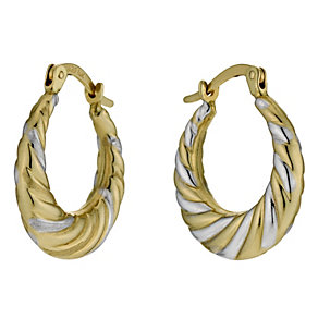 Together Bonded Silver & 9ct Gold Round Creole Earrings - Product number 9689141