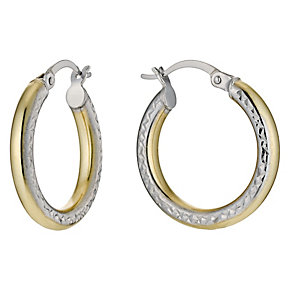 Bonded Silver & 9ct Gold Round Diamond Cut Pattern Earrings - Product number 9689176