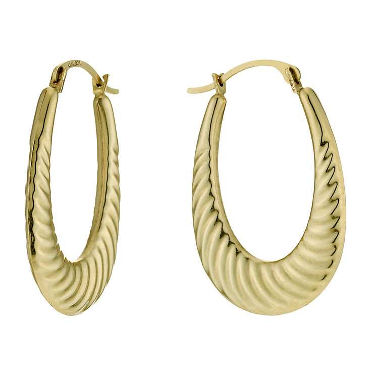 Together Bonded Silver & 9ct Gold Oval Creole Earrings - Product number 9689184
