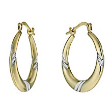Together Bonded Silver & 9ct Gold Swirl Creole Earrings - Product number 9689214