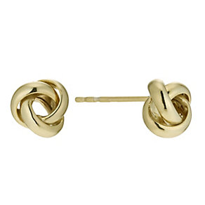 Bonded Silver & 9ct Gold Knot Stud Earrings - Product number 9689265