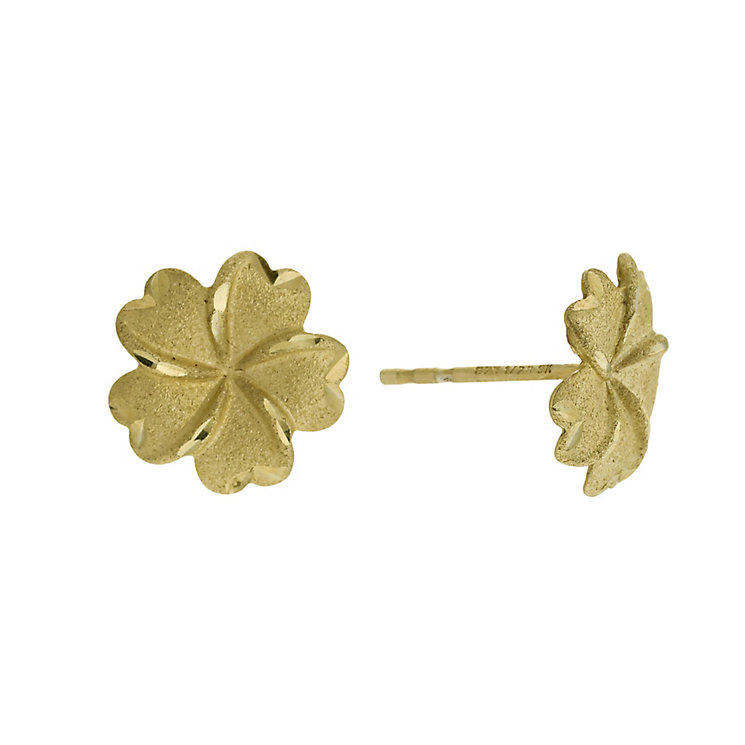 Bonded Silver & 9ct Gold Flower Stud Earrings - Product number 9689281