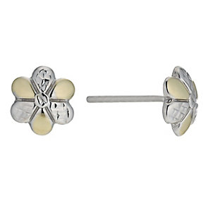 Silver & 9ct Gold Bonded Flower Stud Earrings - Product number 9689303