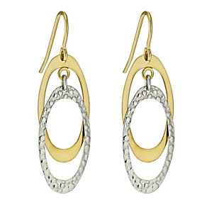 Together Bonded Silver & 9ct Gold Double Drop Earrings - Product number 9689370