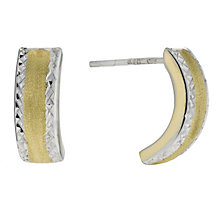 Silver & 9ct Gold Bonded Crescent Earrings - Product number 9689397