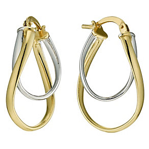 Together Bonded Silver & 9ct Gold Double Creole Earrings - Product number 9689400