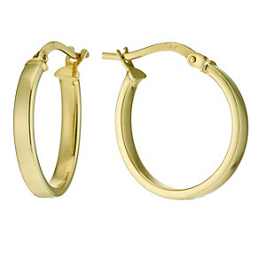 Together Bonded Silver & 9ct Gold Cube Creole 15mm Earrings - Product number 9689419