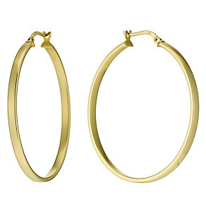 Together Bonded Silver & 9ct Gold Creole 35mm Earrings - Product number 9689427