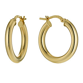 Together Bonded Silver & 9ct Gold Bonded Creole Earrings - Product number 9689486