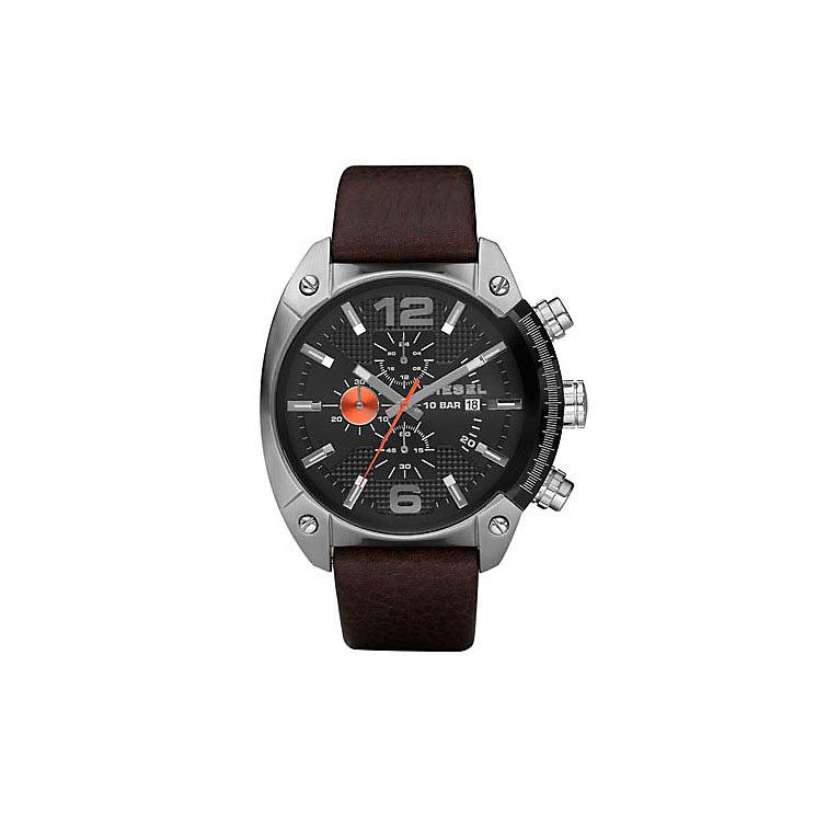 Diesel Mens Overflow Gunmetal Dial Brown Leather Strap Watch - Product number 9690042
