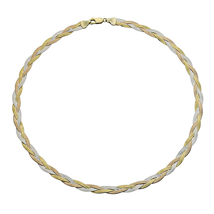 """Together Bonded Silver & 9ct Gold Herringbone 17"""" Necklace - Product number 9690298"""