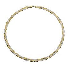 "Together Bonded Silver & 9ct Gold Herringbone 17"" Necklace - Product number 9690298"