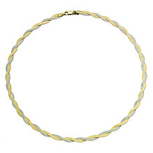 Together Bonded Silver & 9ct Gold Herringbone Necklace - Product number 9690328