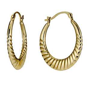Together Bonded Silver & 9ct Gold 20mm Flat Creole Earrings - Product number 9690743