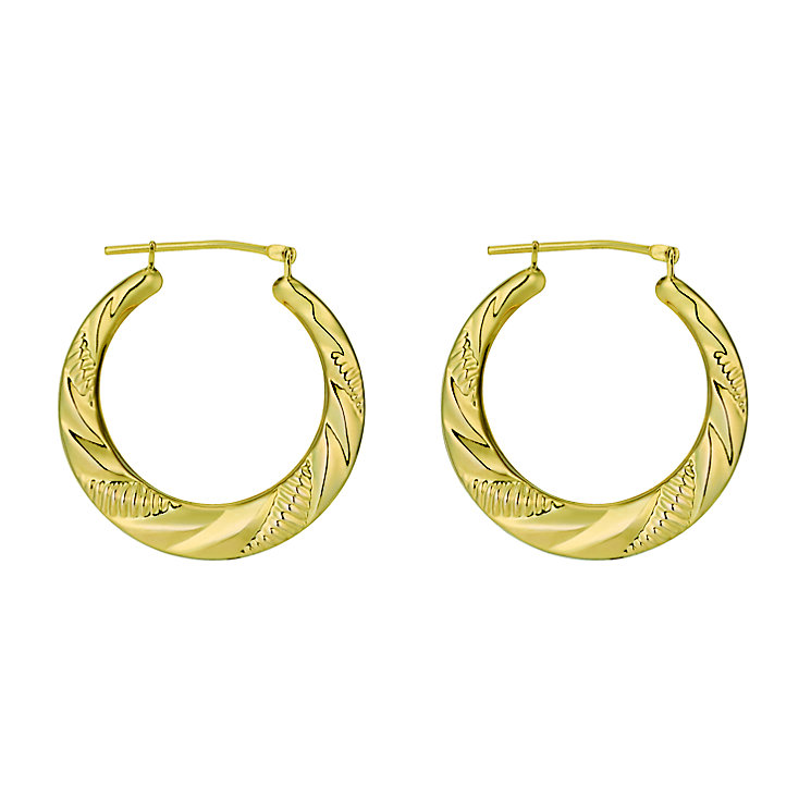 Together Bonded Silver & 9ct Gold Creole Earrings - Product number 9690751