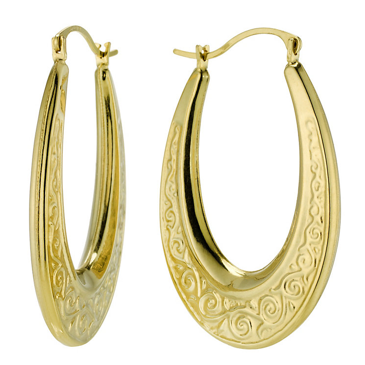 Together Bonded Silver & 9ct Gold Creole Earrings - Product number 9690778