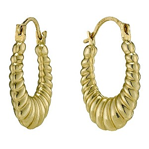 Together Bonded Silver & 9ct Gold Oval Creole Earrings - Product number 9690808
