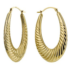 Together Bonded Silver & 9ct Gold Oval Twist Creole Earrings - Product number 9690824