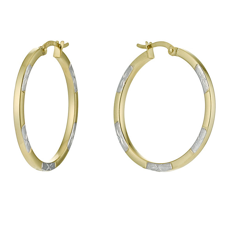 Together Bonded Silver & 9ct Yellow Gold Creole Earrings - Product number 9690832