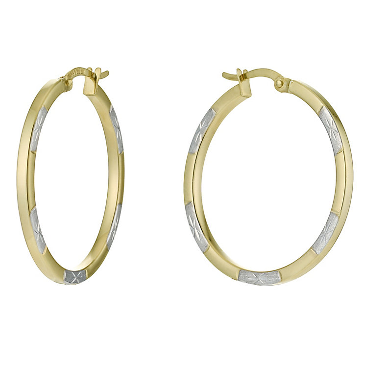 Together Bonded Silver & 9ct Yellow Gold Creole Earrings - Product number 9690840