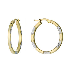 Together Bonded Silver & 9ct Gold Creole Earrings - Product number 9690859