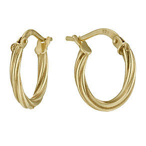 Together Bonded Silver & 9ct Gold 15mm Creole Hoop Earrings - Product number 9690867