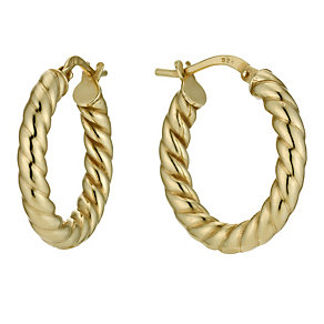 Together Bonded Silver & 9ct Gold Twist Creole Earrings - Product number 9690875